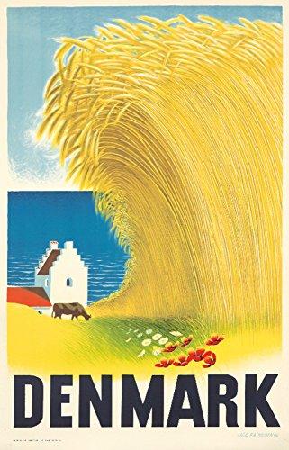 Denmark Vintage Poster (artist: Rasmussen) Denmark c. 1946 (12x18 Art Print, Wall Decor Travel Poster)