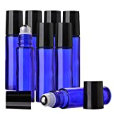 Aguder 10 ml Roll on Bottles with Stainless Steel Roller Balls, 8 Pack, Cobalt Blue