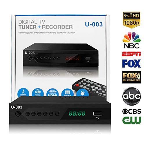 Analog to Digital TV Converters Box - UBISHENG U-003 for Analog HDTV Live 1080P ATSC Converter with TV Tuner, PVR Recording, Playback, Multimedia Player, Timer Setting, LED Display, Local Channel Free
