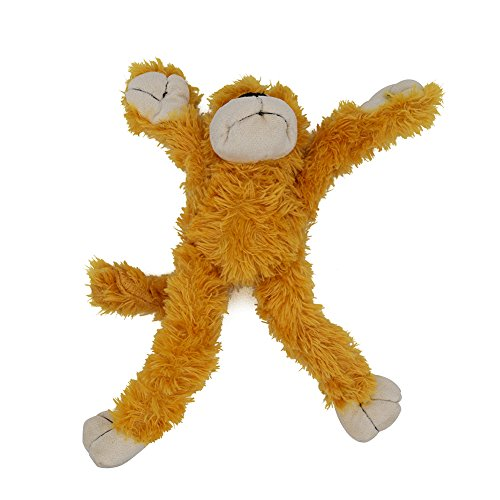 (Hydex Ethnic Pet Skinny Squeaker Plush Monkey Dog Toy with Removable Connected Arms and Legs Skinneeez Durable Squeaky Teething Chewer Puppy Toy for Small to Medium Dogs)