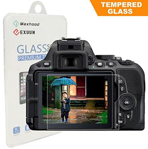 Nikon D5600 D5300 D5500 LCD Tempered Glass Screen Protector, Exuun Optical 9H Hardness 0.33mm Ultra-Thin DSLR Camera Tempered Glass for Nikon D5300 D5500 D5600 (Camera Screen Protector Nikon)