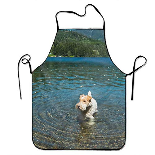 Starfactr Unisex Custom Aprons Fox Terrier Dog Waterproof Aprons with Adjustable Kitchen Cooking and Bib BBQ Apron