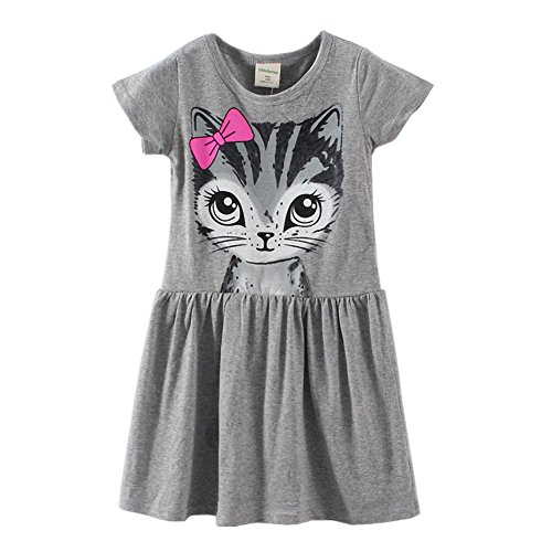 LittleSpring Little Girls' Dresses Summer Cat Printing 7 (Dresses For Girls Size 7 8)