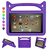 Fire Tablet 7 Case, Fire 7 Case for Kids - Auorld Light Weight Kids Friendly Protective Case Cover for Fire 7 2017 2015 (Purple)