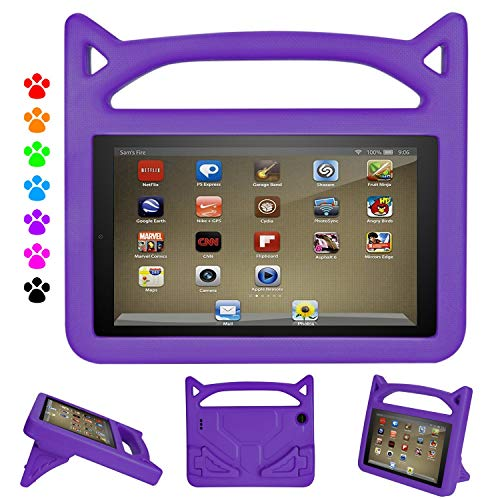 Kindle Fire Tablet 7 2019 Case - Auorld Light Weight Kids Friendly Protective Case Cover for Amazon Fire 7 2019&2017&2015 (Purple)