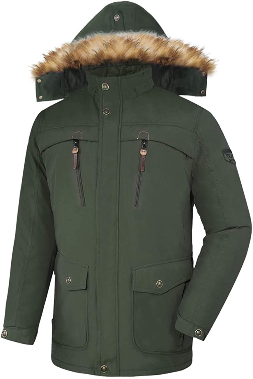 4How Mens Jacket Winter Warm Faux Fur Parka Windproof Coats with Hood