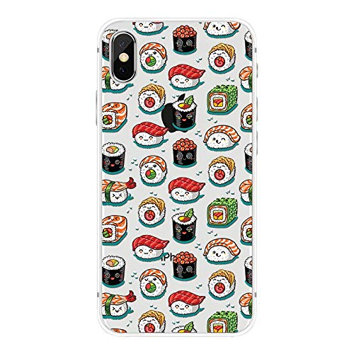 (iPhone X Case/iPhone Xs Case,Blingy's Fun Food Style Transparent Clear Soft TPU Protective Case Compatible for iPhone X and iPhone Xs (Funny Sushi Style))