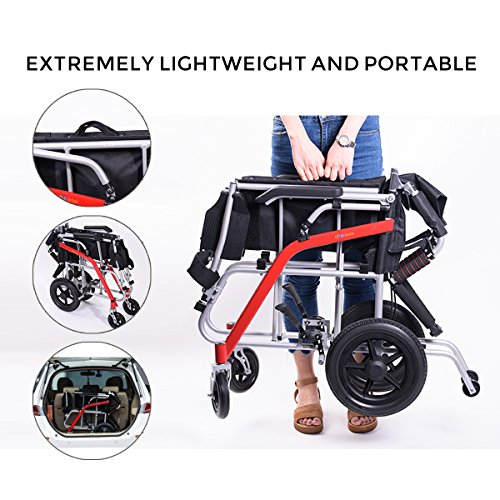 Hi-Fortune 21 lbs Lightweight Transport Medical Wheelchair with Adjustable Armrests and Hand Brakes, Portable and Folding with Magnesium Alloy, 18'' Seat, Red by Hi-Fortune (Image #1)