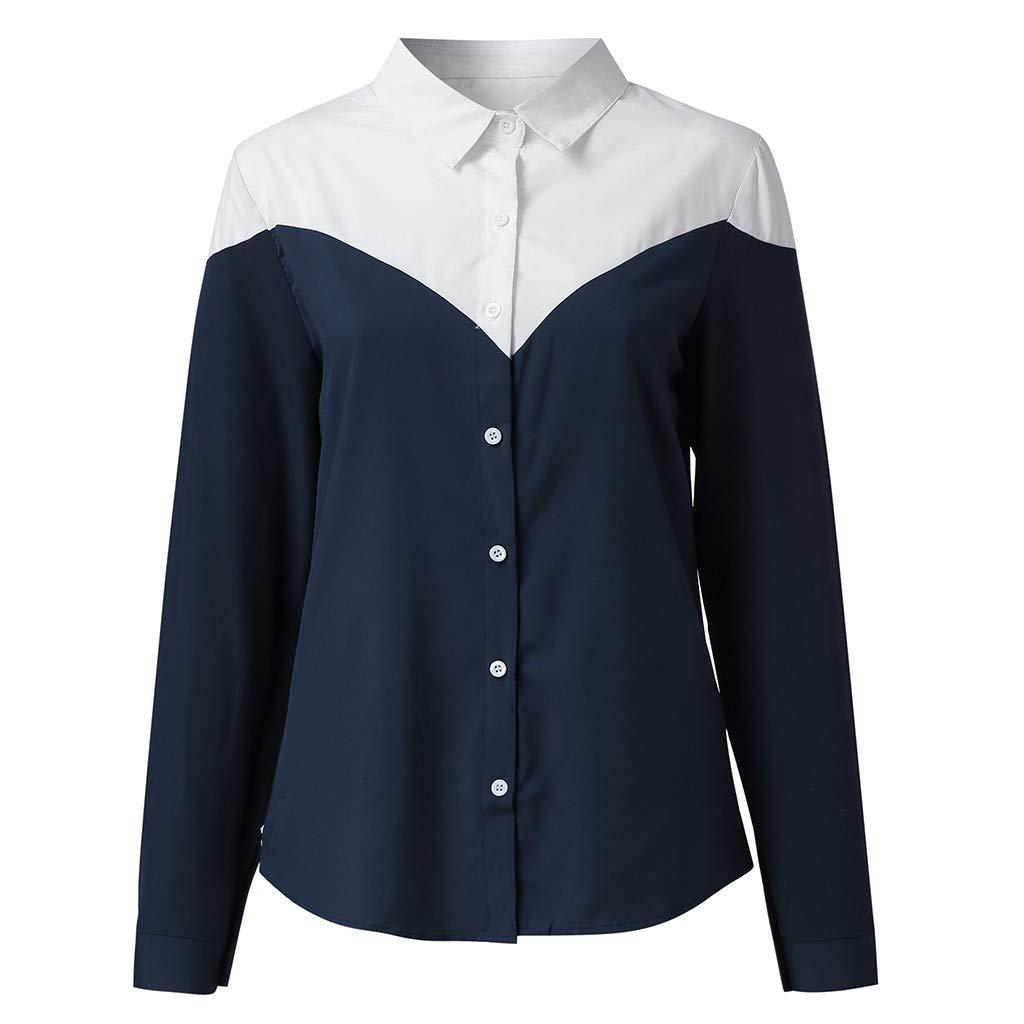 Geilisungren Mujer Blusa Cuello En V Camiseta de Mangas Largas ...