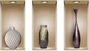 "Fabulous Decor Three Beautiful Elegant Vases Set 3D Wall Decal 17"" H X 29.80"" W Brown"
