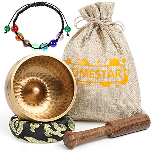 DOMESTAR Tibetan Singing Bowl Set, 3 Inch Sound Bowl Meditation Bowl