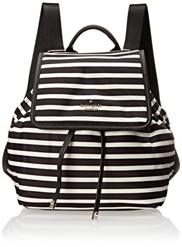 kate spade new york Classic Nylon Molly Backpack Handbag, Black/Clotted Cream, One Size by Kate Spade New York