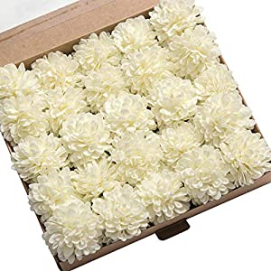 Ling's moment 25pcs Real-Looking Artificial Flowers Ivory Fake Dahlia Daisy Flower with Stem for Wedding Bridal Shower Bride's Bouquet Arrangement Decorations 68