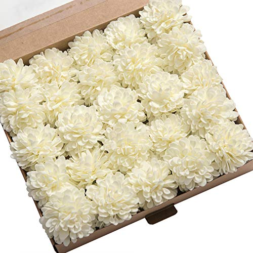Lings moment 25pcs Ivory Real Looking Fake Dahlia Artificial Flowers w/Stem for DIY Wedding Bouquets Centerpieces Arrangements Party Baby Shower Home Decorations