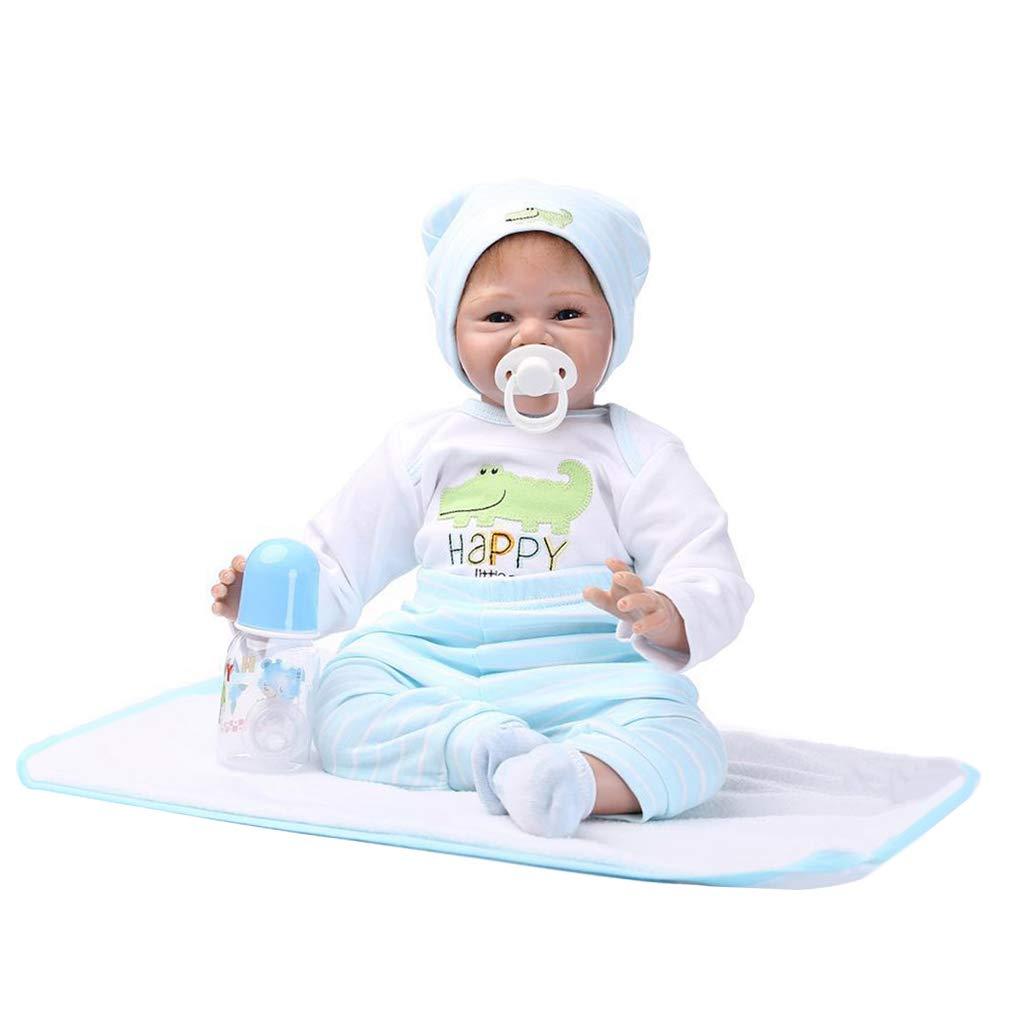 KESOTO 55cm Encantadora Silicona Recién Nacido Durmiendo Bebé Muñeca Niños Regalo - Blanco + Azul