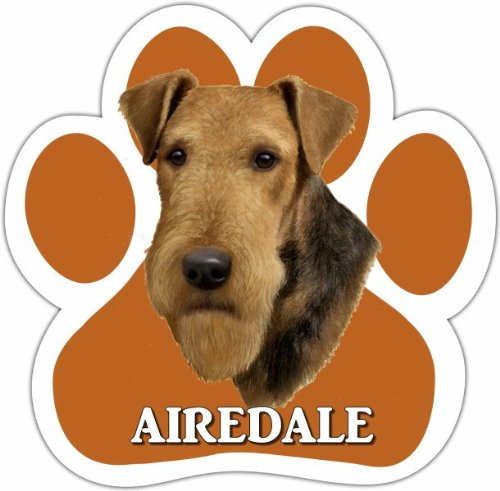 Airedale Magnet (Airedale Car Magnet With Unique Paw Shaped Design Measures 5.2 by 5.2 Inches Covered In UV Gloss For Weather Protection)