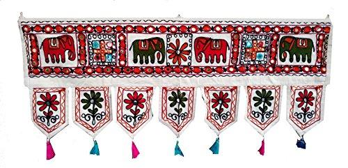 Rastogi Handicrafts Mirror Wall Hanging Toran Elephant And Flower Hand Work Door Toran Indian Traditional Look (WHITE 1) by Rastogi Handicrafts