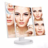 Cheap Meijing LED Lighted Makeup Vanity Mirror with Touch Screen, 180º Rotation Adjustable Brightness Table Top Lamp Mirror 1X/2X/3X/10X Countertop Dual Power Supply,Travel Cosmetic Mirror ((White)