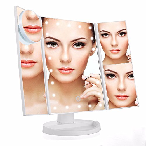 Meijing LED Lighted Makeup Vanity Mirror with Touch Screen, 180º Rotation Adjustable Brightness Table Top Lamp Mirror 1X/2X/3X/10X Countertop Dual Power Supply,Travel Cosmetic Mirror ((White)