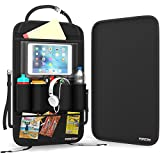Premium Quality Backseat Car Organizer With Bonus Kick Mat Seat Back Protector By FORTEM With Built-In iPad/Tablet Holder Cargo Storage For Baby Stroller & Kid Travel Accessories - UPDATE Version