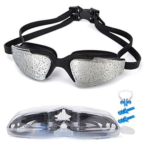 MIGAGA Swim Goggles, Triathlon Glasses,Anti Fog Cool Design Clear Vision No Leaking UV Protection, Anti-Scratch Swimming Glasses,Free Earplugs and Nose Clip