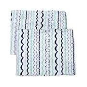Bacati Noah Tribal Crib/Toddler Bed Fitted Sheets Cotton Percale Garland 2 Piece, Mint/Navy