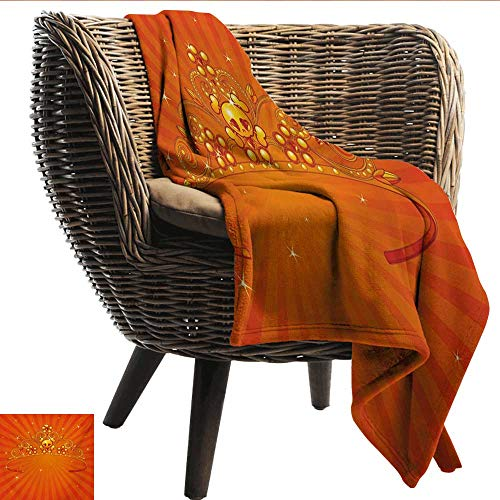 EwaskyOnline Queen Couch Blanket Fancy Halloween Princess Crown with Little Skull Daisies on Radial Orange Backdrop Stars Camping Throw,Office wrap 91