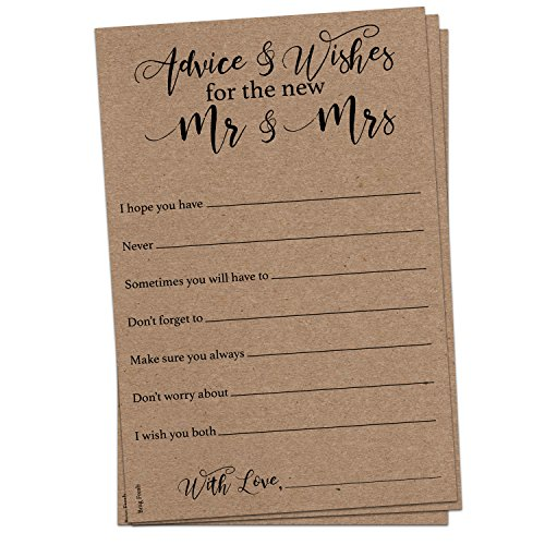 50 Kraft Brown Rustic Wedding Advice Cards for Advice & Well Wishes for the Happy Couple - Bridal Shower Wedding Shower Games Note Card Marriage Best Words of -