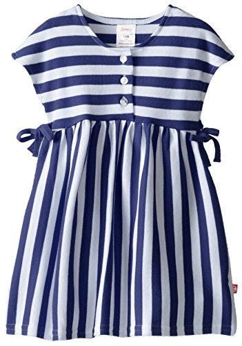 Zutano Baby-Girls Infant Primary Stripe Tessa Tie Dress, Navy, 18 Months