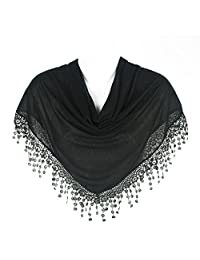 Stylish Triangle Bobbin Lace Fringed Ladies Womens Scarf Shawl Wrap, Black