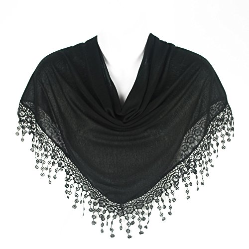 Stylish Triangle Bobbin Lace Fringed Ladies Womens Scarf Shawl Wrap, Black (Shawl With Fringe)