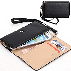 EXXIST® Classic Design Patent Leather Wallet / Clutch for LG KS1204 G2 au isai LGL22 (Color: Black) -ESMXWLK1