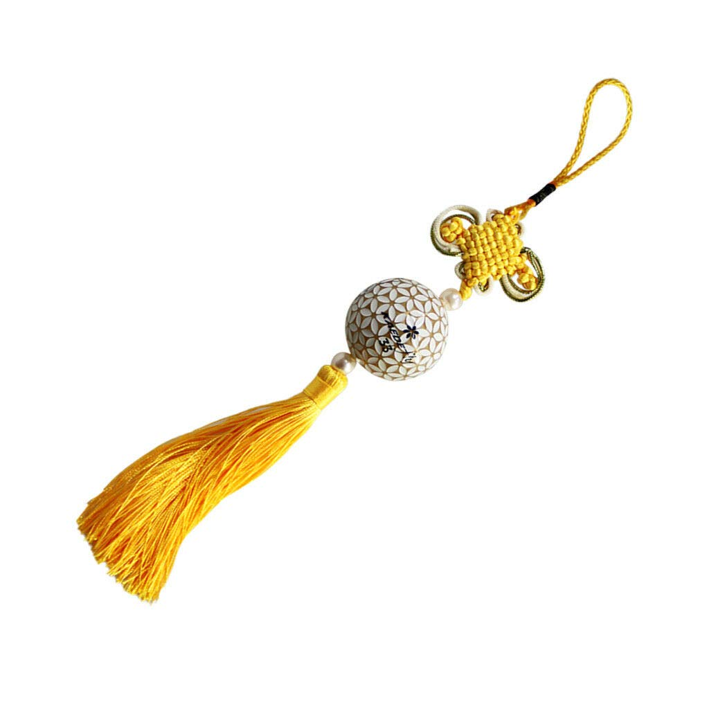 Chinese Knot Tassel Chinese New Year Decoration Lucky Oriental Pendant Decor | Color - Yellow