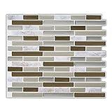 Mosaic Peel and Stick Tile Backsplash, Grey Self Adhesive Sticker Tile 9 x11 inch Pack of 10