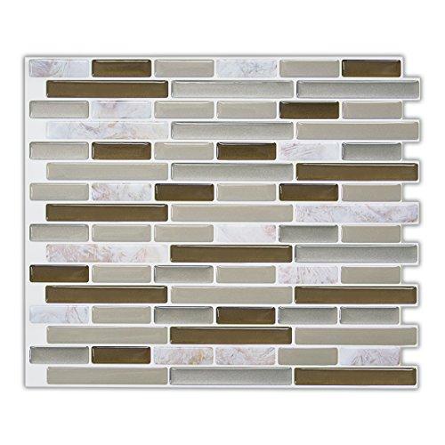 Light Grey Peel and Stick Tile Backsplash for Kitchen, Adhesive RV Kitchen Backsplash Peel and Stick,Stick on Backsplash Kitchen Tiles for Dormitory & Rental Apartment 9 x 11 Inch 5 Sheet