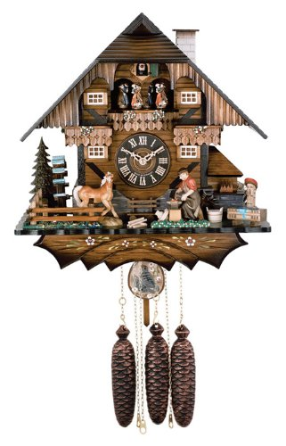 River City Clocks MD822-15 Eight Day Musical Chalet Cuckoo Clock with Dancers, Farrier Pounds Anvil And Waterwheel Turns, 15-Inch Tall