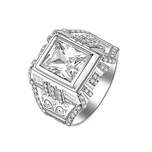 Lavender Cubic Zirconia Star (Aokarry Ladies Jewelry 925 Sterling Silver Promise Ring Men Princess & Round White Cubic Zirconia Size 9.5)