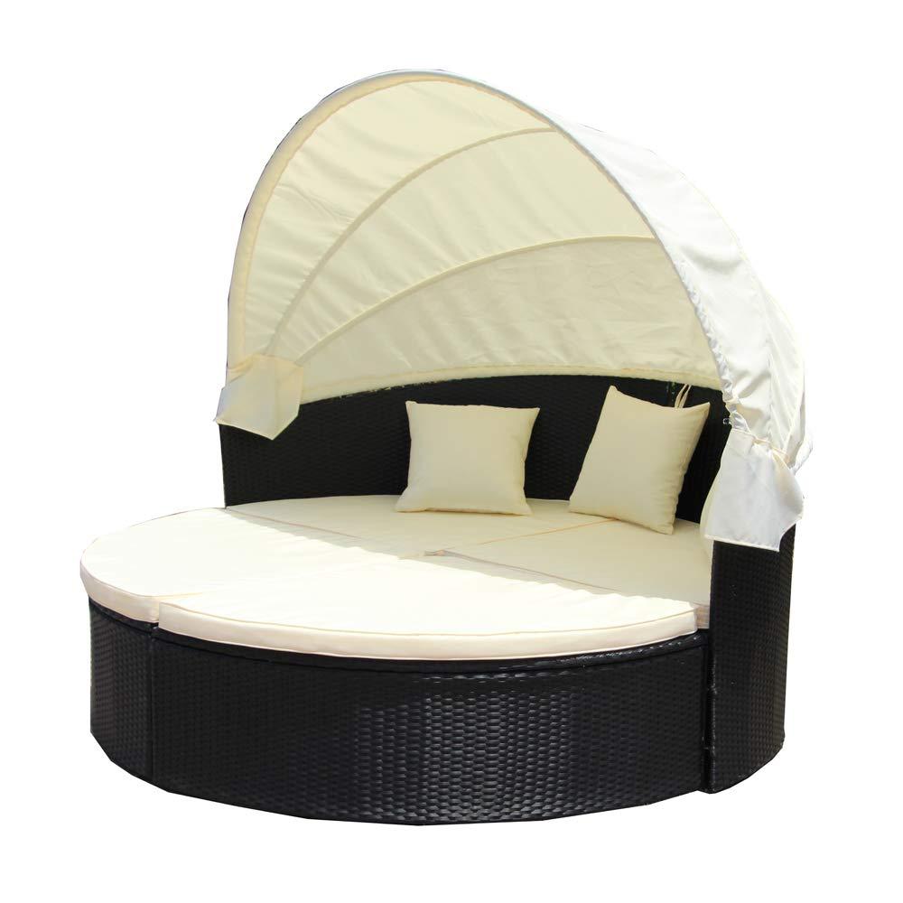 Amazon com aleko rtfrd003bk rattan wicker furniture outdoor sectional daybed set with retractable canopy black garden outdoor