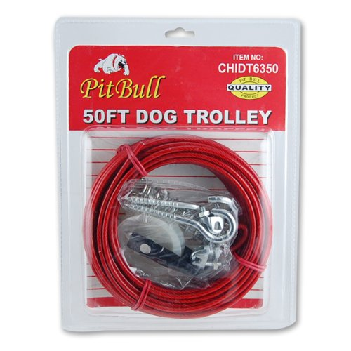 50 Foot Dog Tree Trolley Tie Out Cable by Pit Bull - Trolley 50ft