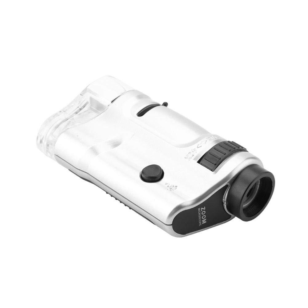 Akozon Mini Microscopio con Luz LED iluminado 20X-40X Zoom Microscopios Monoculares de Bolsillo con Base