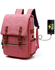 YEXIN Laptop Backpack Large Computer Backpack for Laptop with USB Charging Port Water-Repellent School Travel Backpack Casual Daypack for Business/College/Women/Men (Color : Pink)