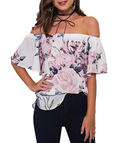 Scollo Donna Moda Newlife Camicie Sexy a Fiori Elegante T Latte Shirt Seta Maglietta Barca Bluse Estivo Manica Bianca Camicie Tops Corta 5E5qrwOn