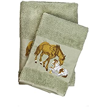 Luxury Horse Embroidered Ecru Bath And Hand Towel 100% Cotton Bathroom Set  U0026 Gift By