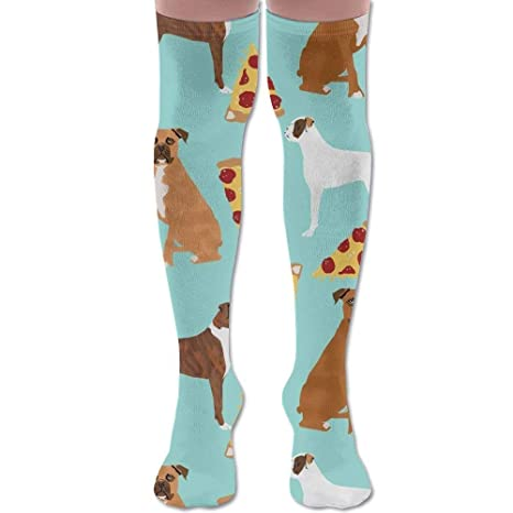 ruishandianqi Calcetines Altos New Boxer Dog Pizza Fashion Stylish Comfortable Knee High Socks Long Socks for