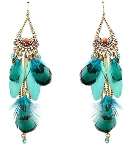 Lovelychica Gold Plated Chain Bohemian Rhinestone Crystal Long Feather Tassel Pendants Drop Earrings