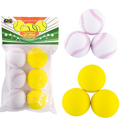 (iPlay, iLearn 6 PCS Practice Tennis Ball Baseball Pick Up Power Pitching Pro Machine Replacement, Indoor Sports, Outdoor Game Toys)