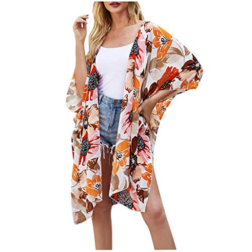 Womens Sexy Kimono Cardigan Open Front Dress Printed Chiffon Blouse Loose Tops Orange