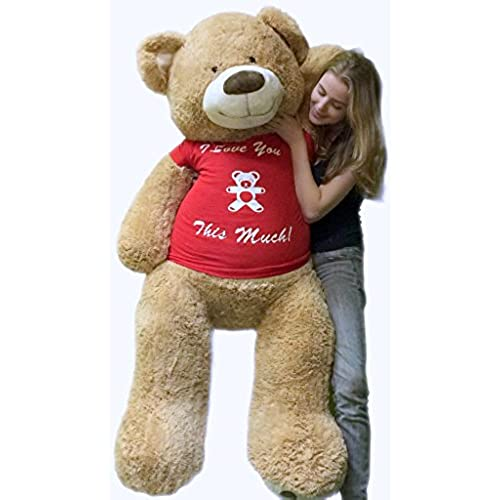 5 Foot Giant Teddy Bear Soft 60 Inch, Wears Removable T Shirt I LOVE YOU  THIS MUCH. By Big Plush