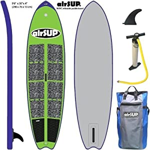 """airSUP 9'6""""x30""""x4"""" Inflatable SUP 15psi Stand Up Paddleboard, Roll It up and Store in the Bag! GREEN from airSUP"""