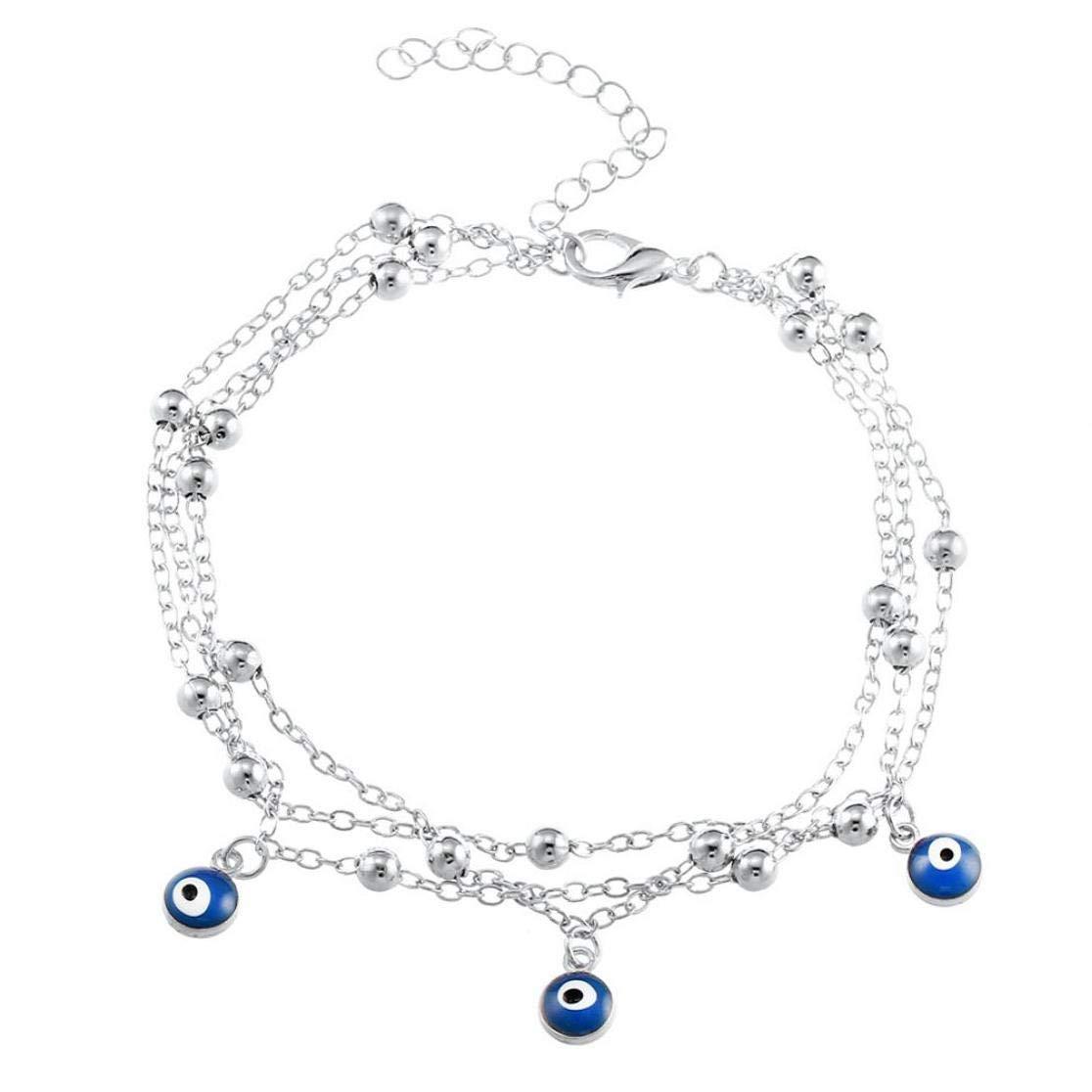 Femmes D/ét/é Au Pied Bijoux De Boh/ème /à Couches Multiples Perles Cheville Bracelet Cha/îne Jambe Bleu Mauvais Oeil Pendentif pour La Plage Anklet